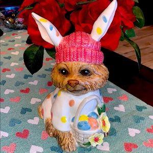 New Blue Sky Claywork Easter Bunny Yorkie Figurine